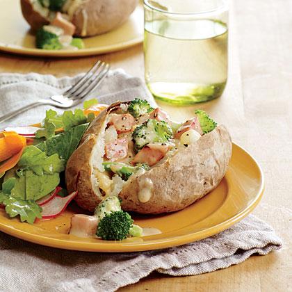 Broccoli and Cheddar Stuffed Potatoes