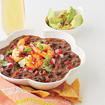 Black Bean Soup with Tequila Shrimp