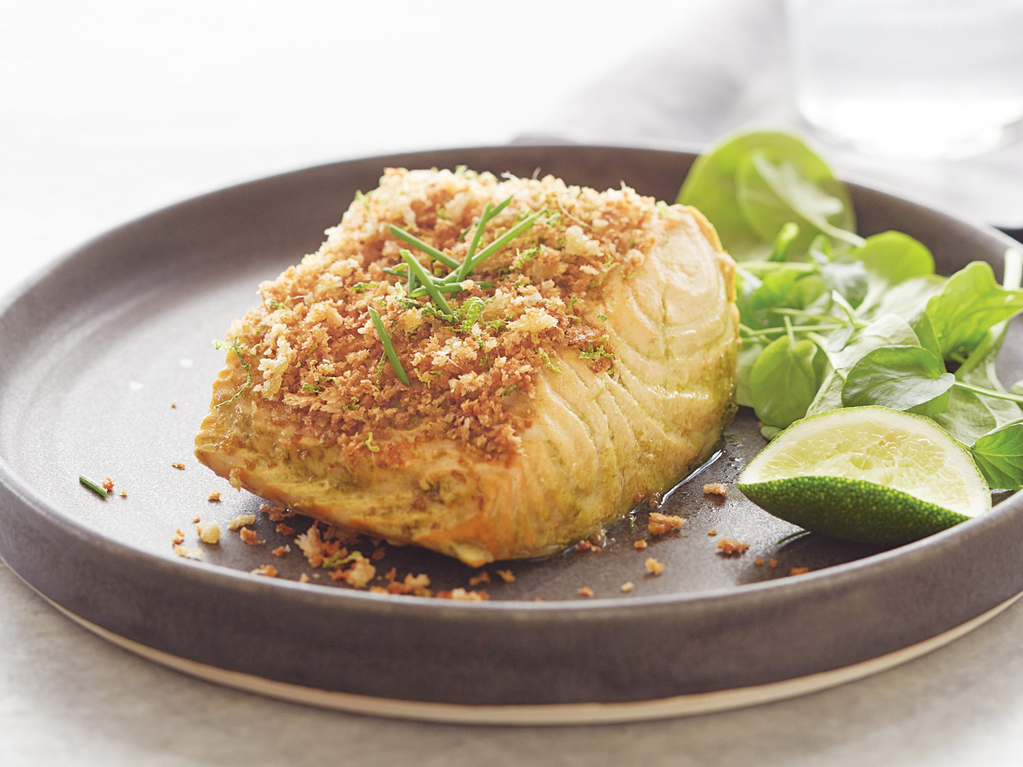 Matcha-Steeped Salmon With Ginger-Toasted Panko