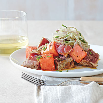 Miso-Grilled Tuna and Watermelon Salad with Wasabi Shallots