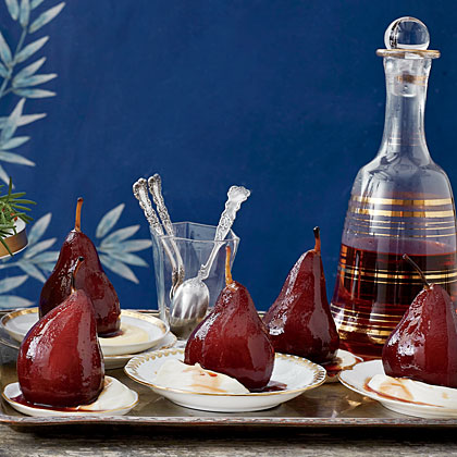 Pomegranate-Poached Pears with Cream