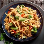 No Yolks® Kluski Noodles with Asian Vegetables and Chicken in Spicy Peanut Sauce