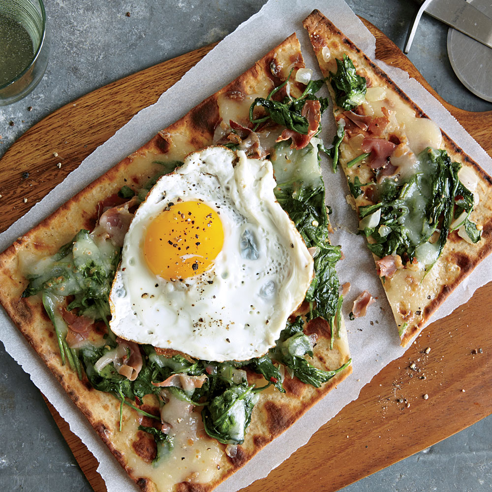Spinach, Egg, and Prosciutto Flatbreads