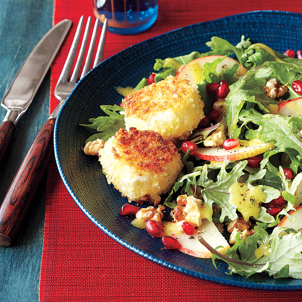 Fried Goat Cheese, Pear and Kale Salad