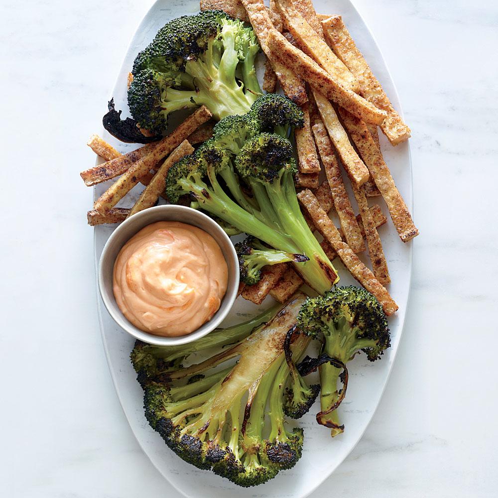 Broccoli Steaks with Tofu Fries