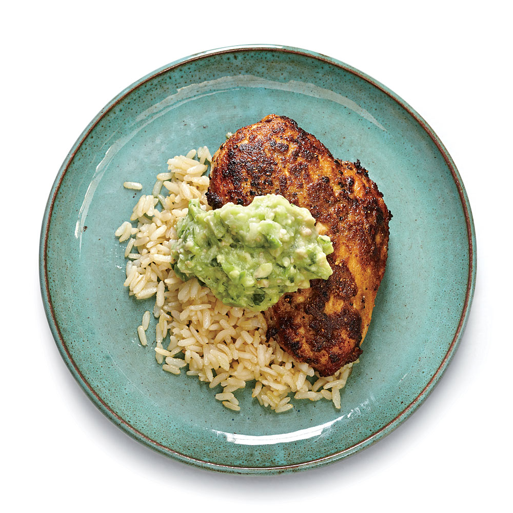 Cumin-Rubbed Chicken with Guacamole Sauce