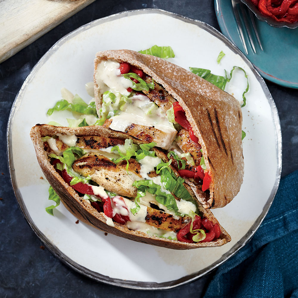 Grilled Chicken Pitas with Sesame Drizzle
