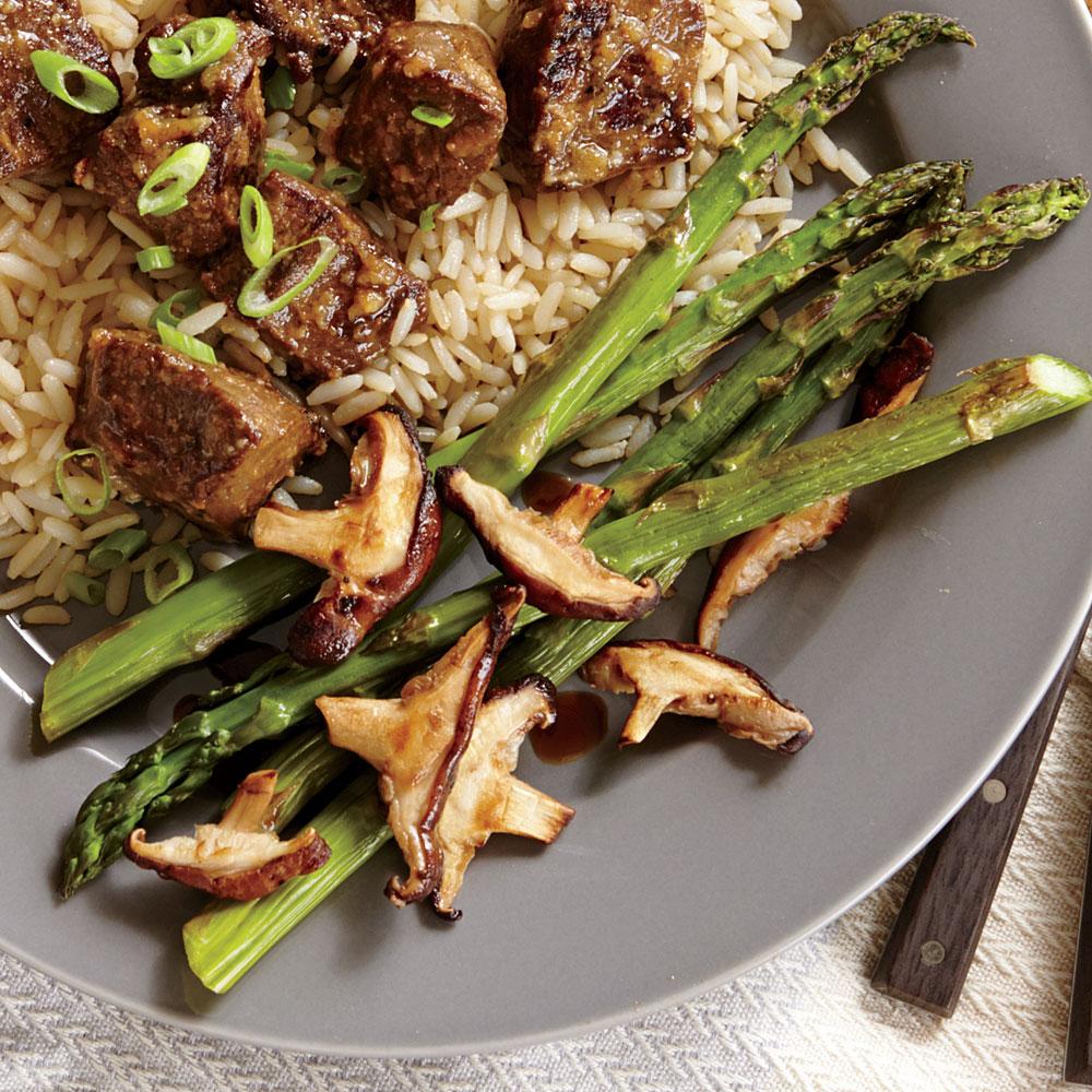 Roasted Asparagus and Shiitake Mushrooms