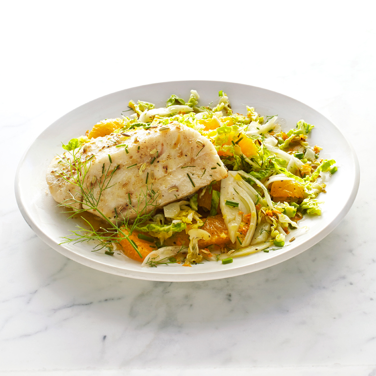 Sablefish with Savoy Cabbage and Fennel Slaw