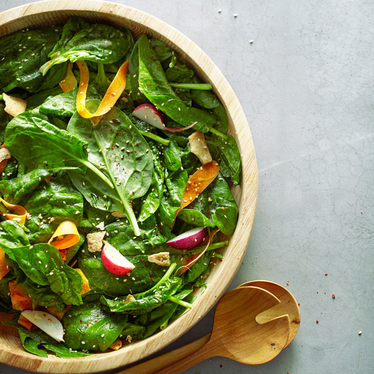 Spinach Salad with Tahini Vinaigrette