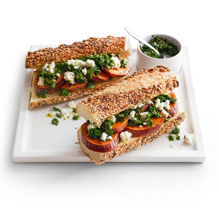 Sweet Potato Sandwiches with Feta and Salsa Verde