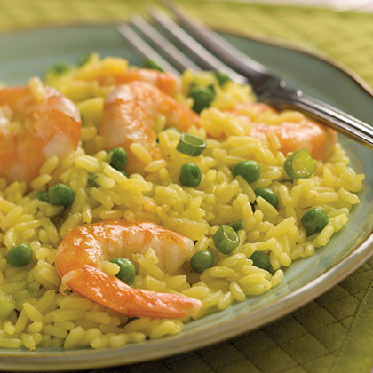 Seared Shrimp, Peas and Yellow Rice