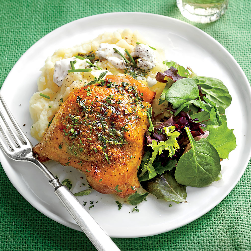 Roasted Chicken Thighs with Herb Butter