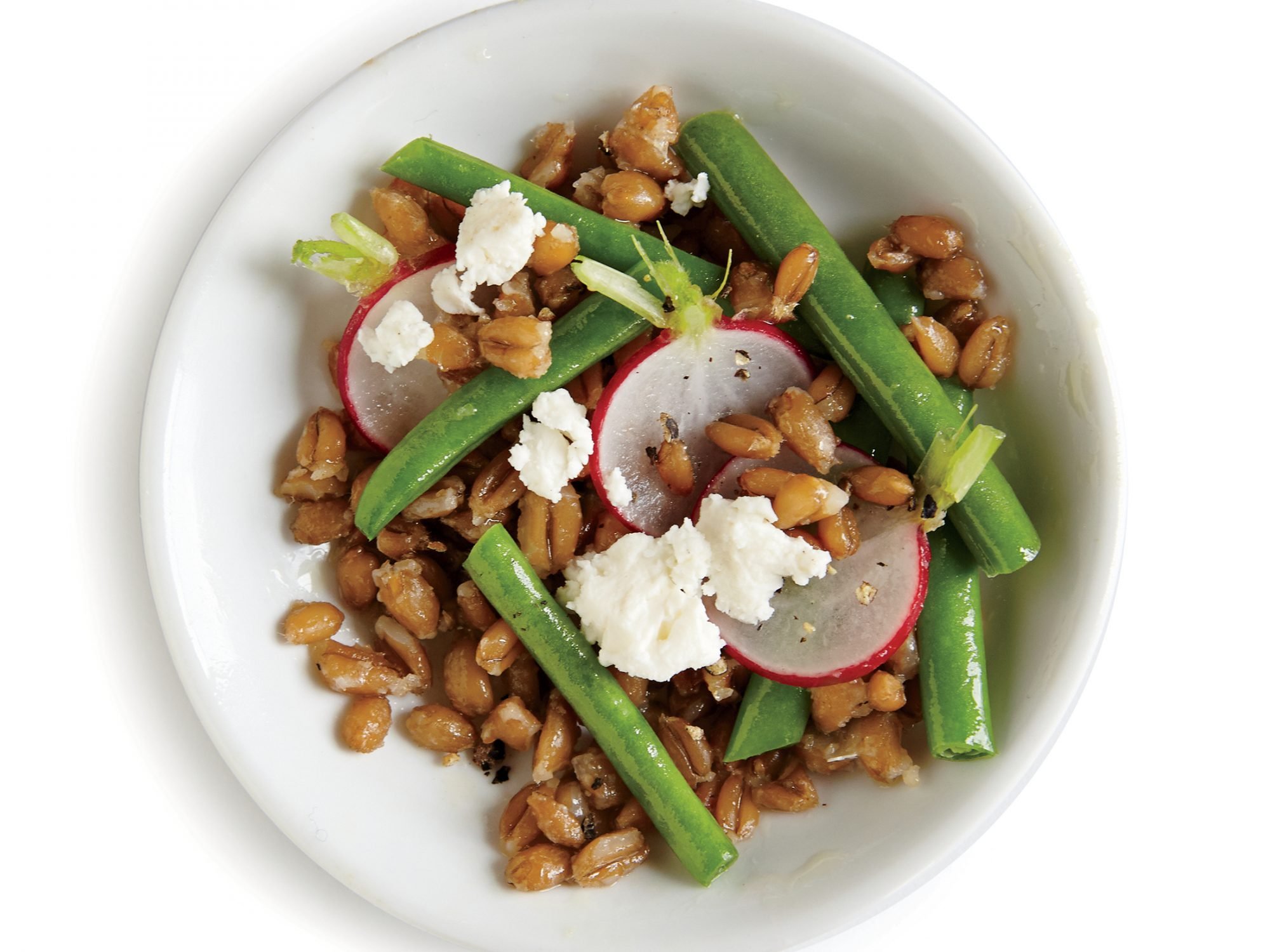 Farro Salad with Green Beans, Radishes, and Feta