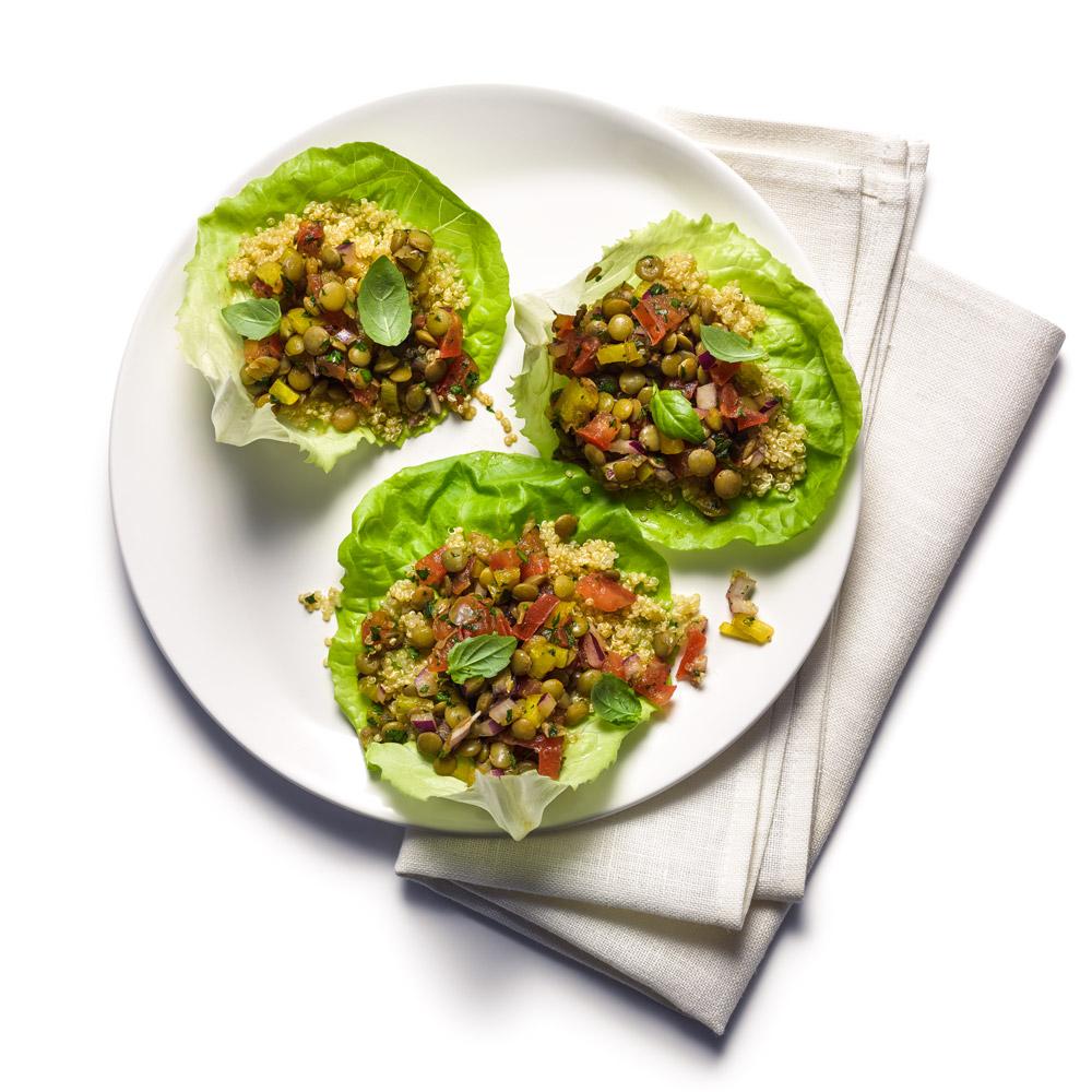 Balsamic Lentil Quinoa Lettuce Cups
