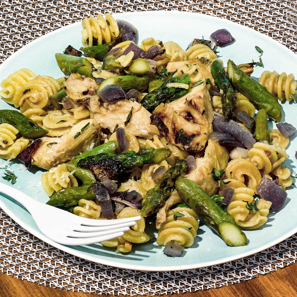 Roasted Garlic, Artichoke and Asparagus Pasta