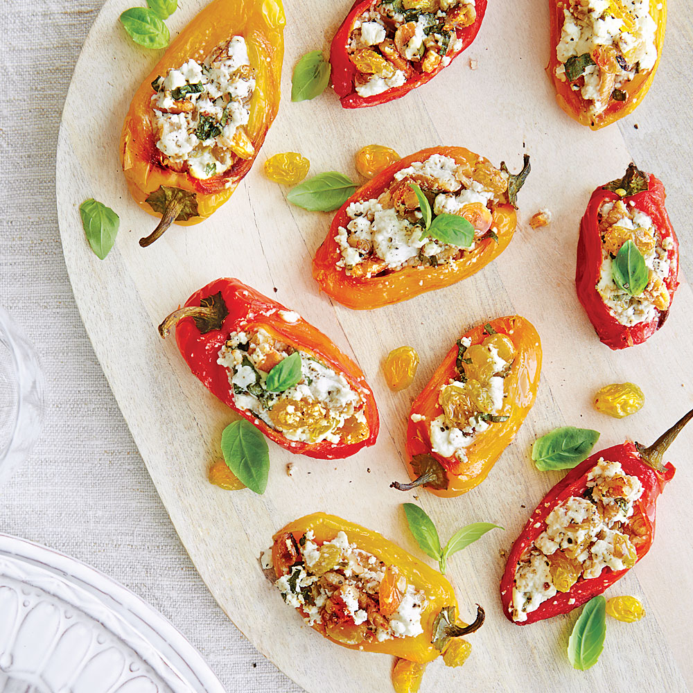 Stuffed Peppers with Chèvre, Pecans, and Golden Raisins