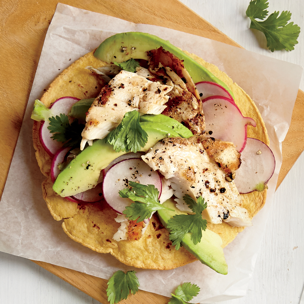 Baja Fish and Avocado Tostada