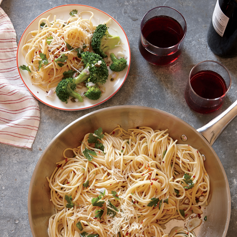 Spaghetti with Anchovies, Garlic, and Red Pepper with Lemon-Caper Broccoli