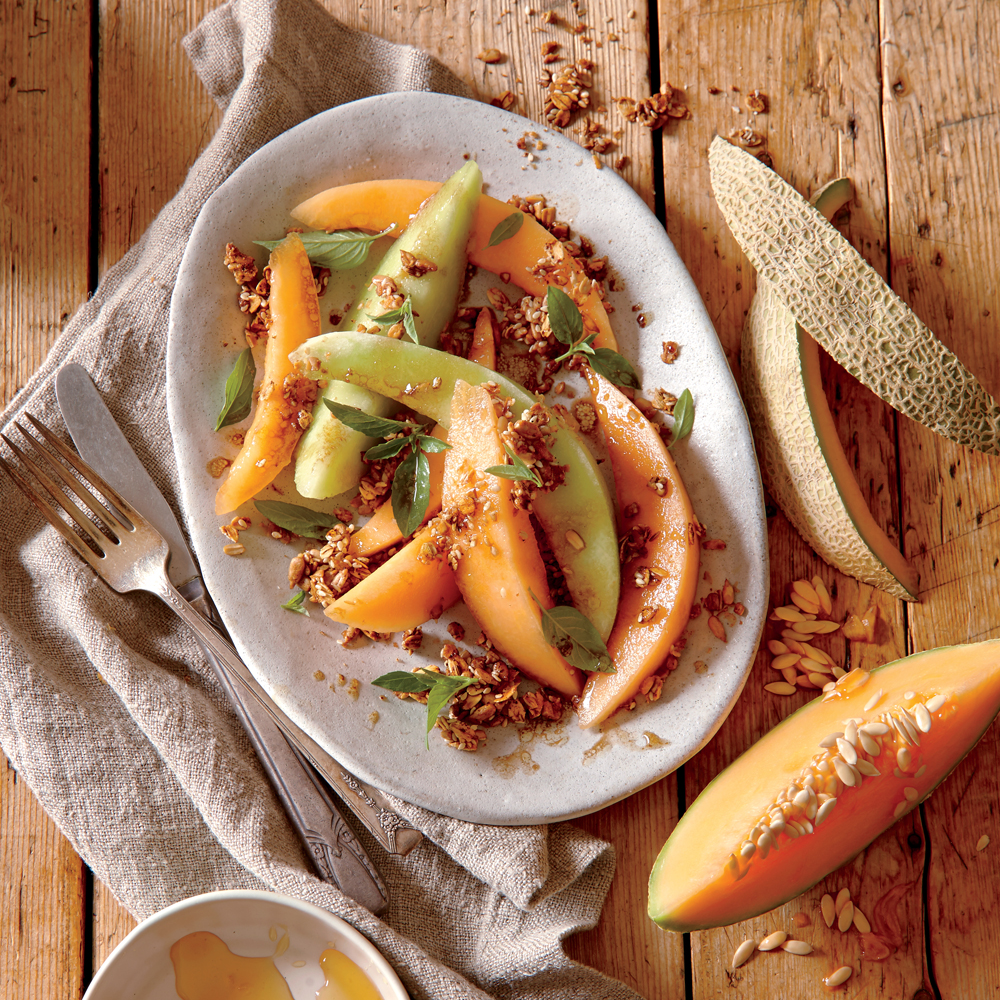 Melon Salad with Savory Granola