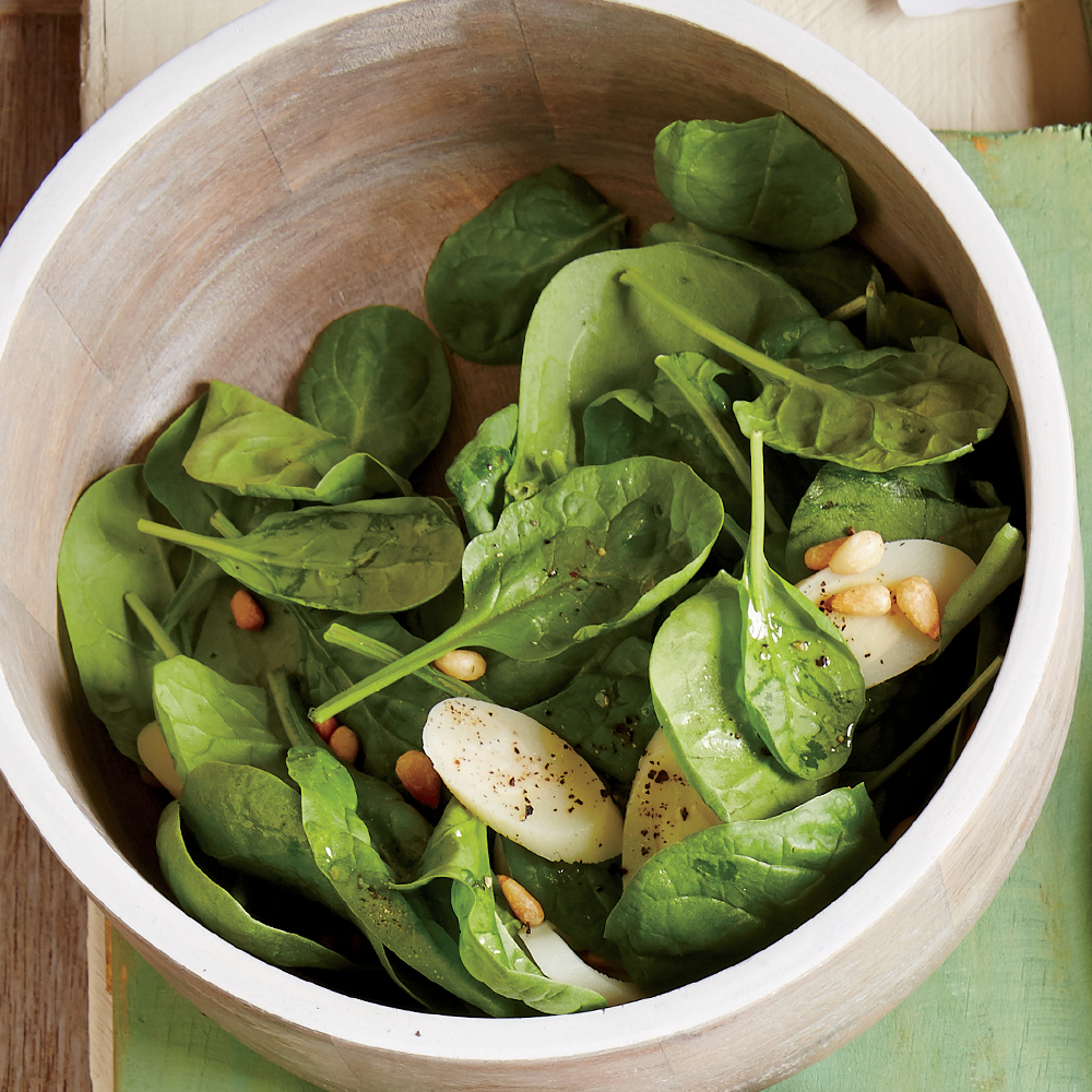 Spinach, Palm, and Pine Nut Salad