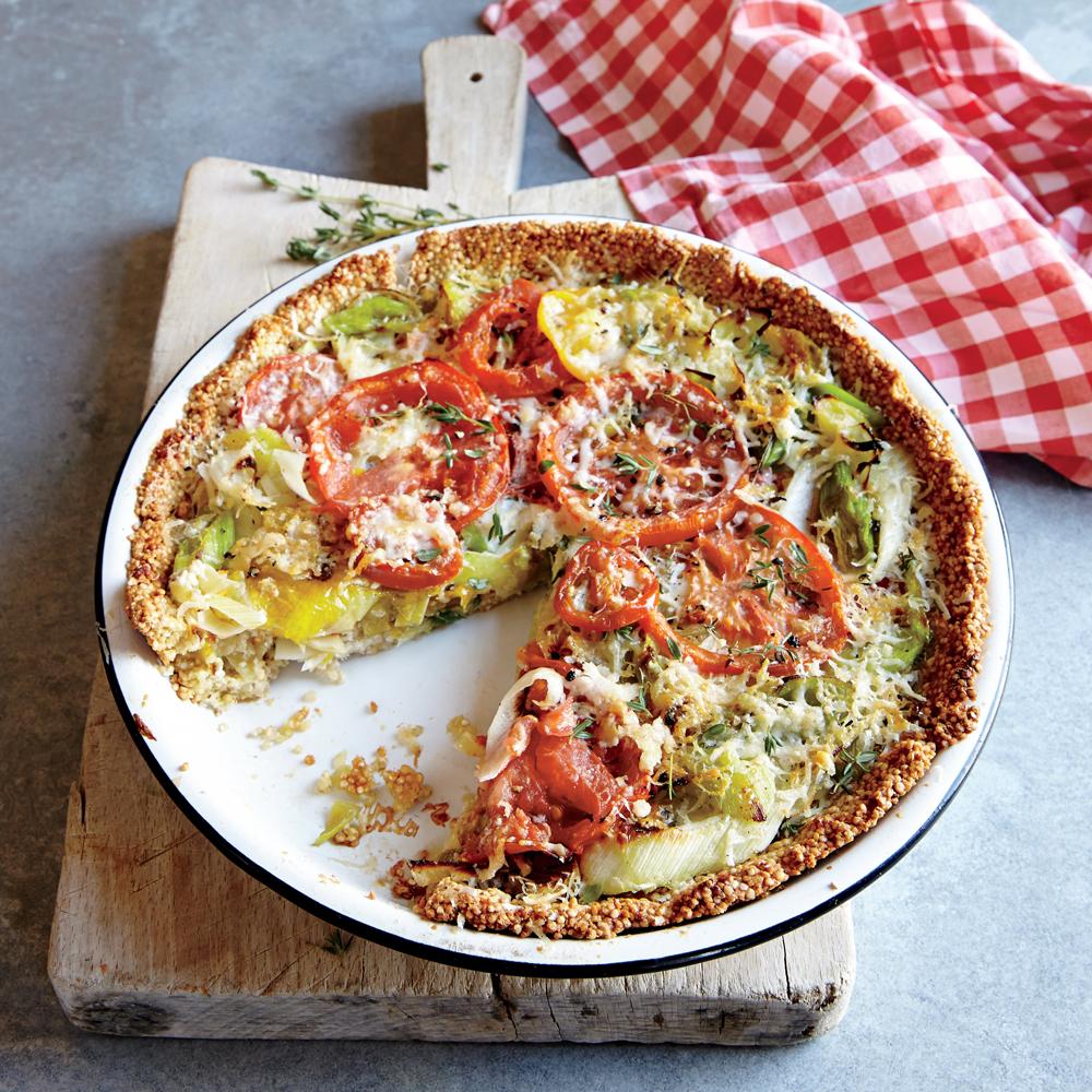 Tomato-Leek Pie with Quinoa Crust