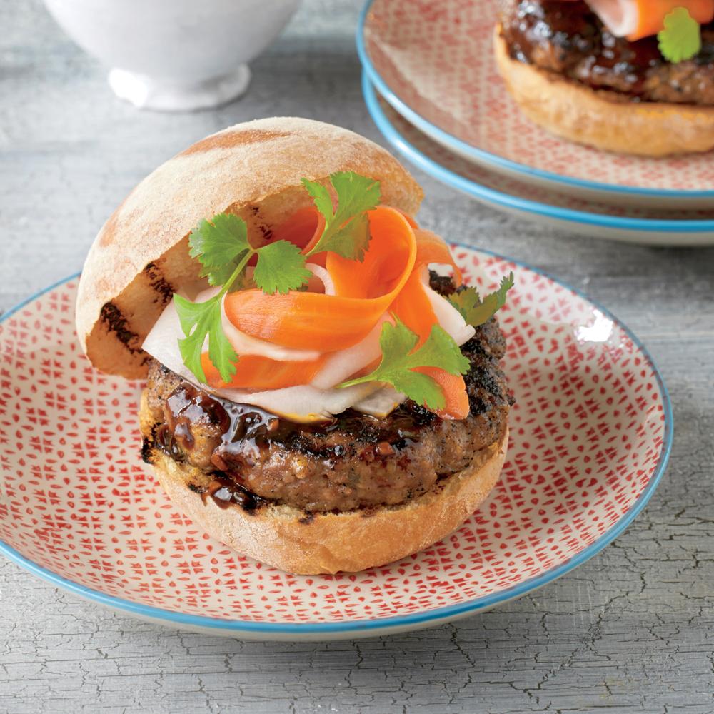 Hoisin Pork Burgers with Pickled Vegetables