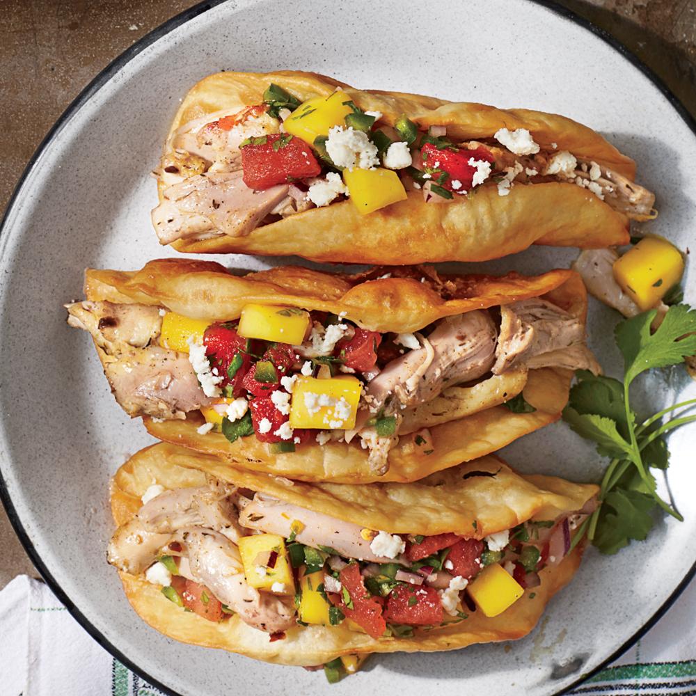Crunchy Jerk Tacos with Watermelon-Mango Salsa