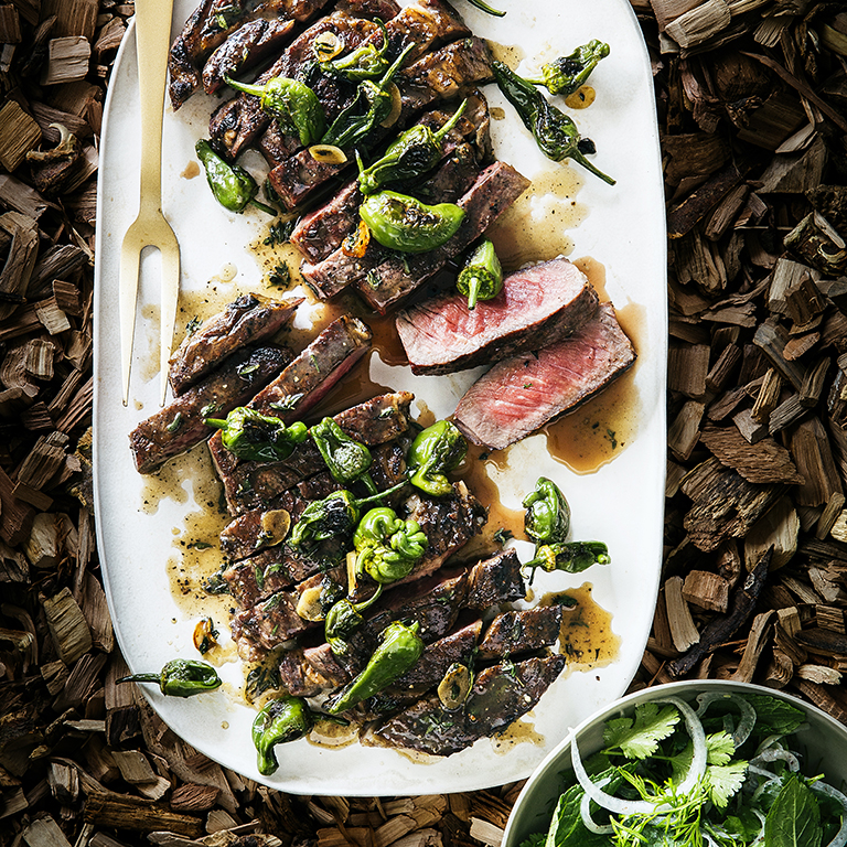 Grilled Rib-Eye Steaks with Blistered Padrón Peppers