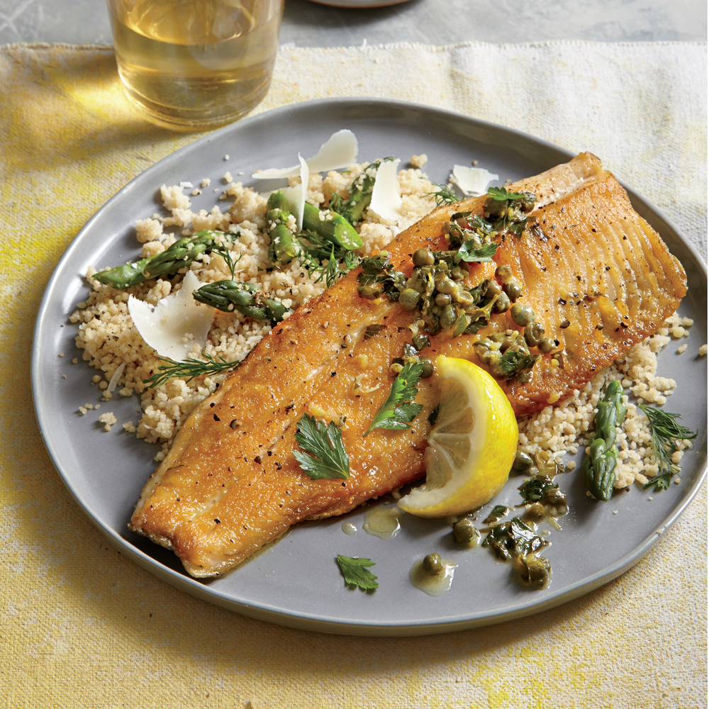 Crispy Trout with Warm Parsley-Caper Vinaigrette