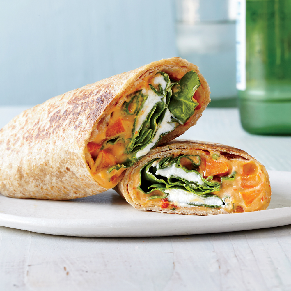 Roasted Red Pepper Hummus Veggie Wraps