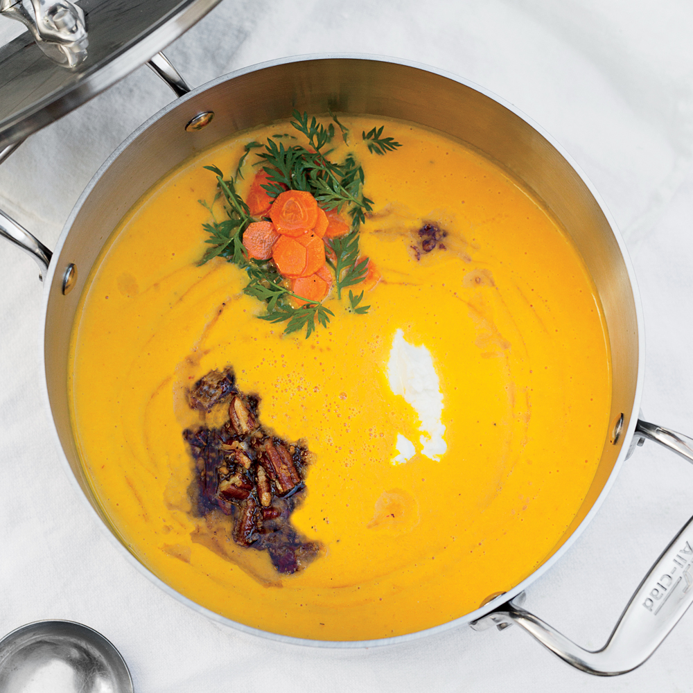 Carrot Soup with Brown Butter, Pecans, and Yogurt
