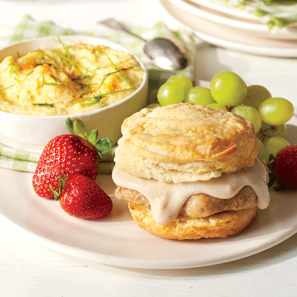 Pork Chop Sandwiches with Gravy and Grits