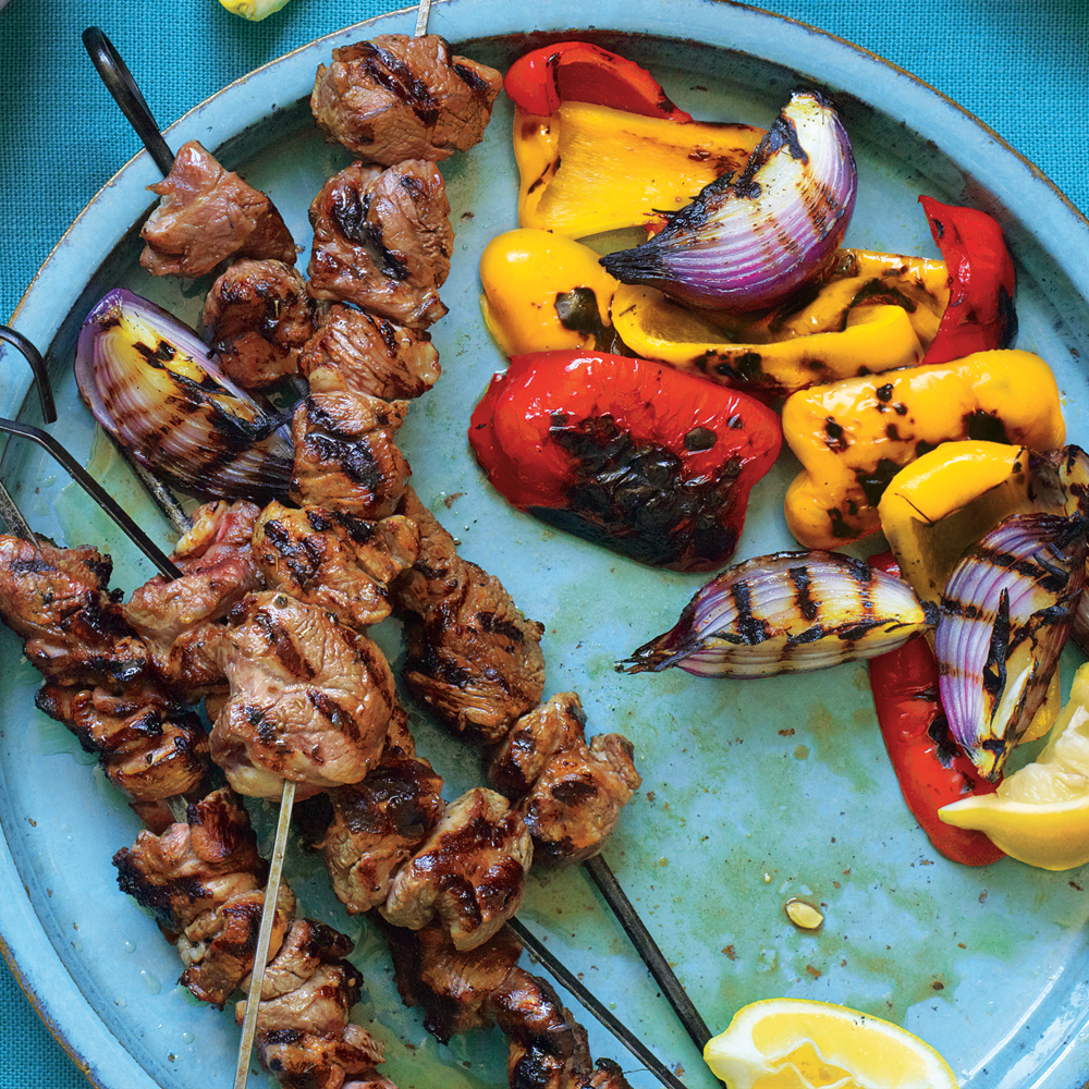 Lemony Grilled Lamb Kebabs with Peppers and Onions
