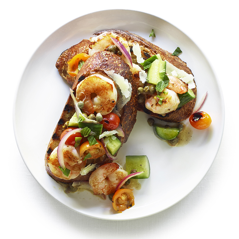 Grilled Panzanella with Shrimp