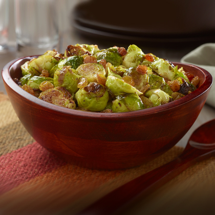 Pan Grilled, Brussels Sprouts with Golden Raisins