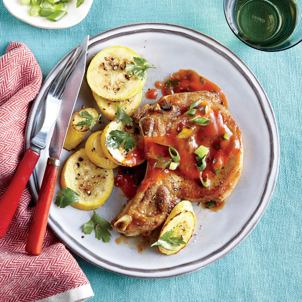 Pork Chops with Tomato Gravy and Squash