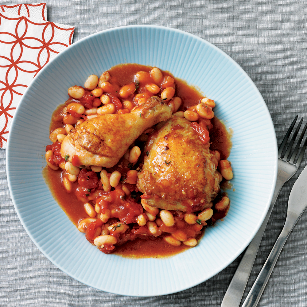 Tuscan Stewed Chicken with White Beans and Tomato
