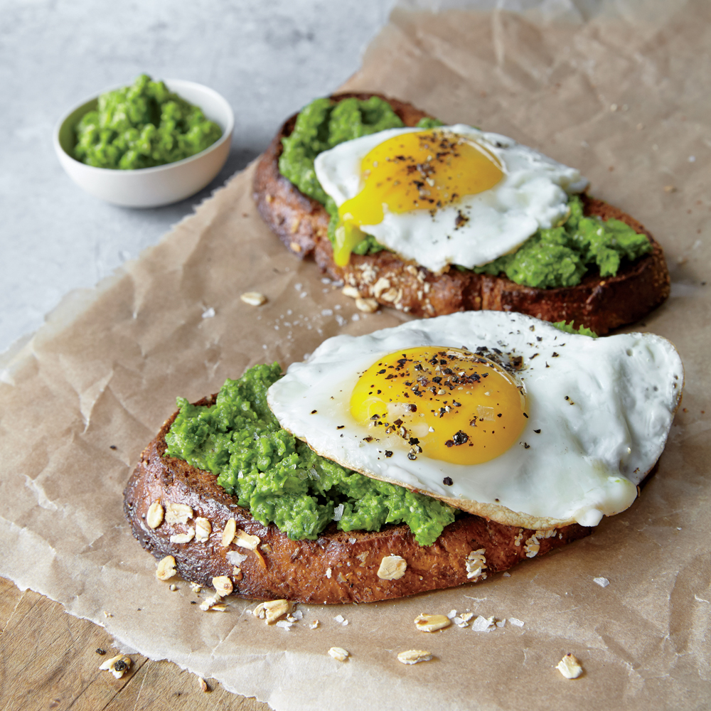 Mustard Green Pesto and Egg Open-Faced Sandwiches
