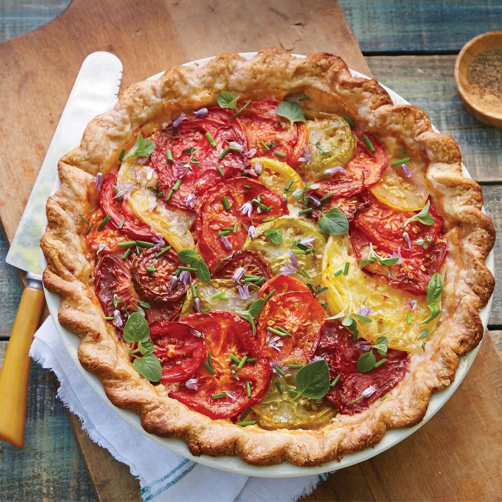 Tomato Pie with Fresh Corn & Herbs