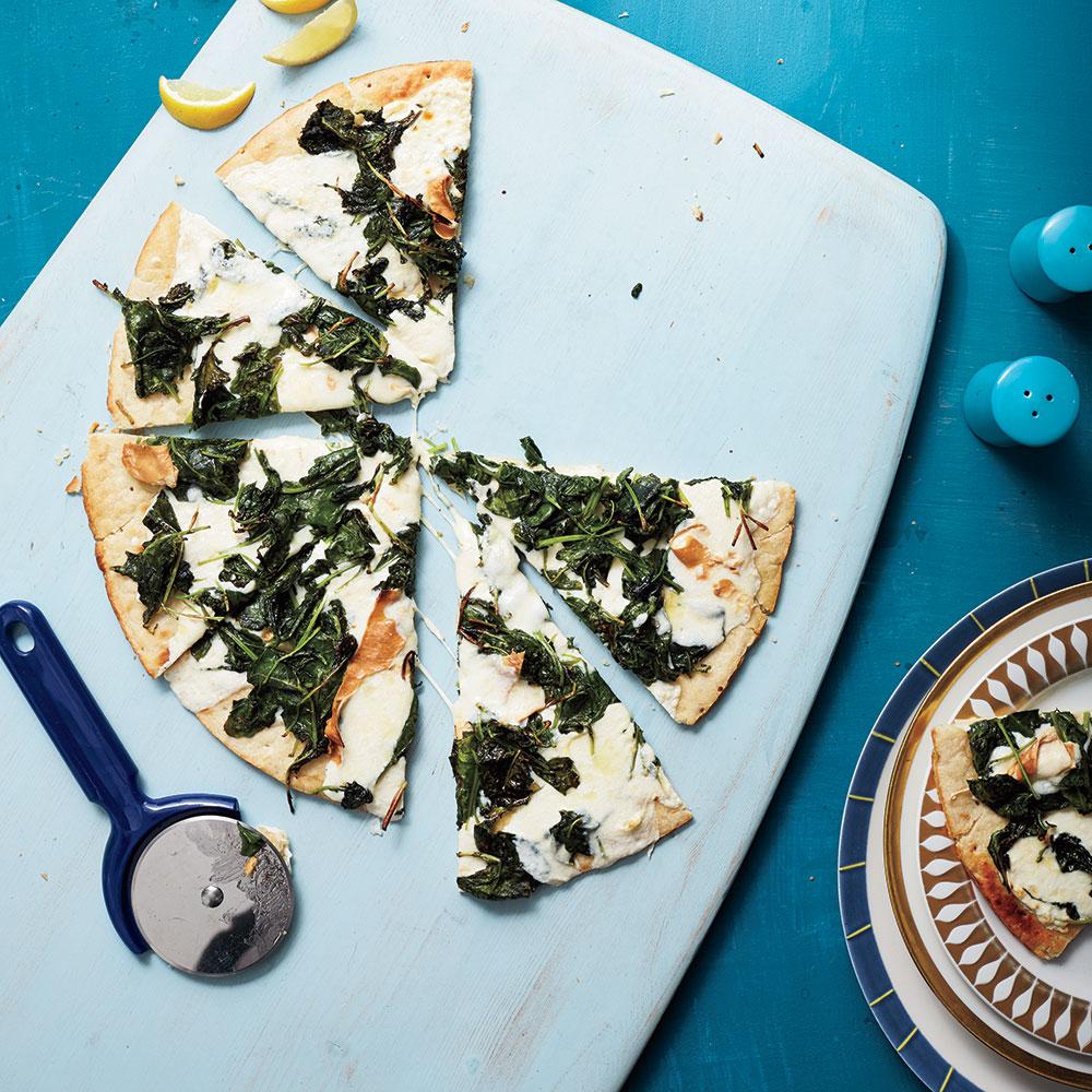 Kale and Smoked Mozzarella Pizza