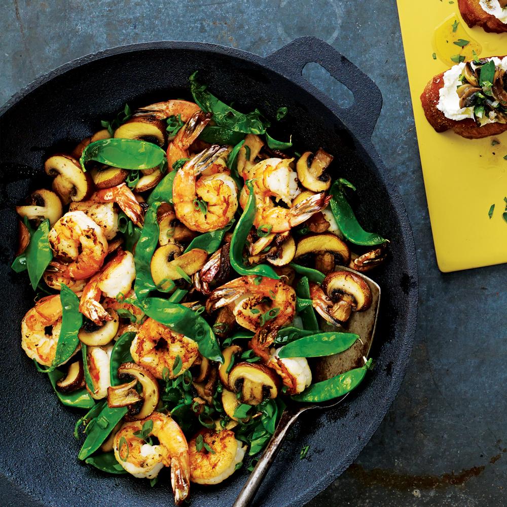 Shrimp, Mushroom and Snow Pea Stir-Fry
