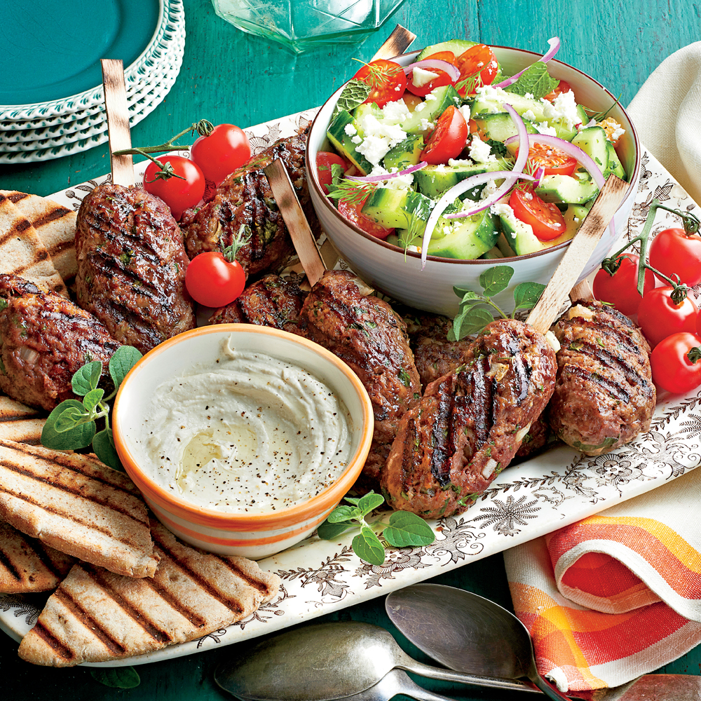 Spiced Beef Kabobs with Herbed Cucumber and Tomato Salad