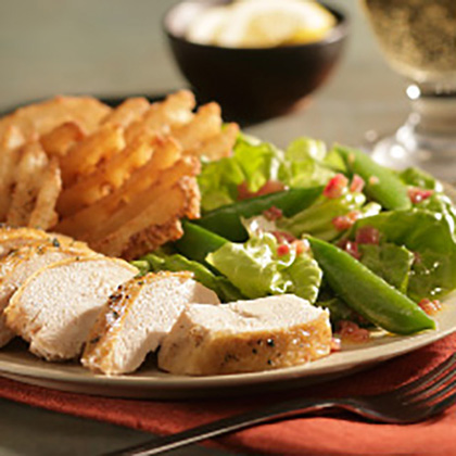 Oven Roasted Chicken with Wilted Lettuce and Spring Peas