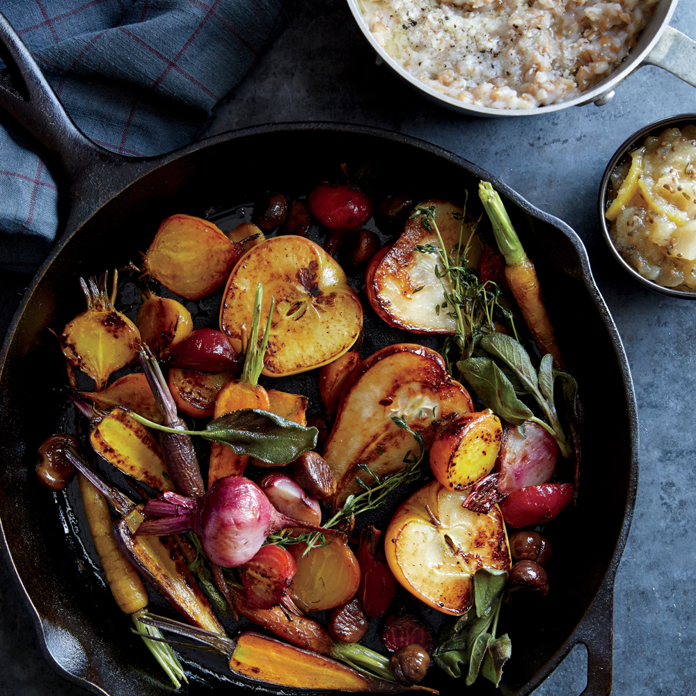 Roasted Winter Fruits and Vegetables with Farro Porridge