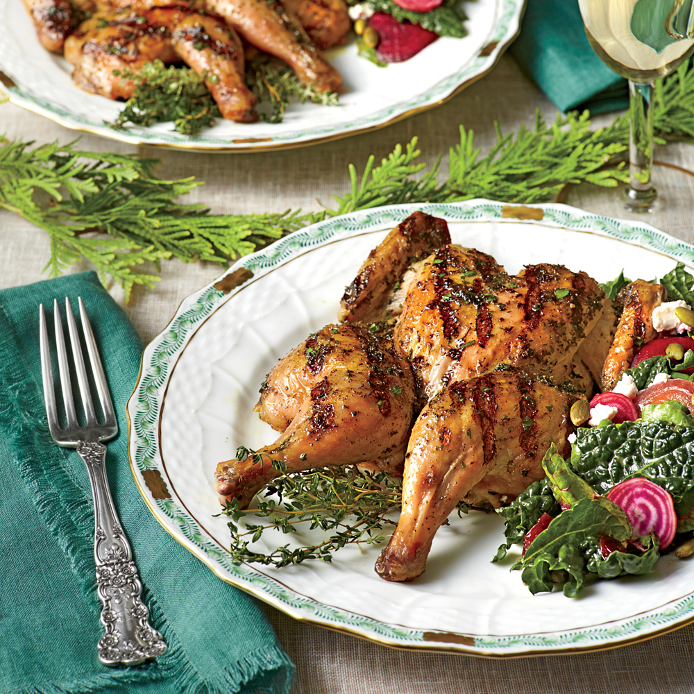 Grilled Cornish Hens with Herb Brine