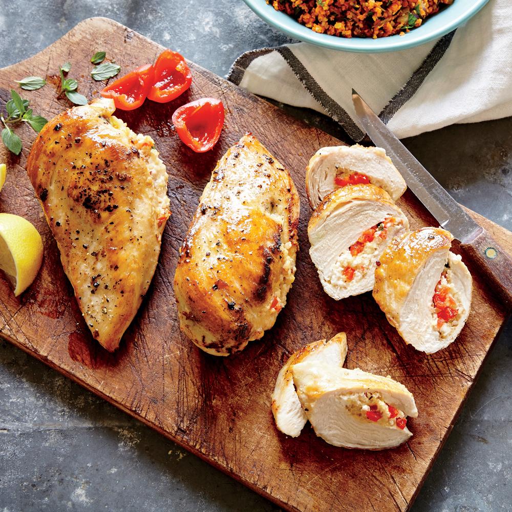 Basil, Feta, and Quinoa Stuffed Chicken Breasts
