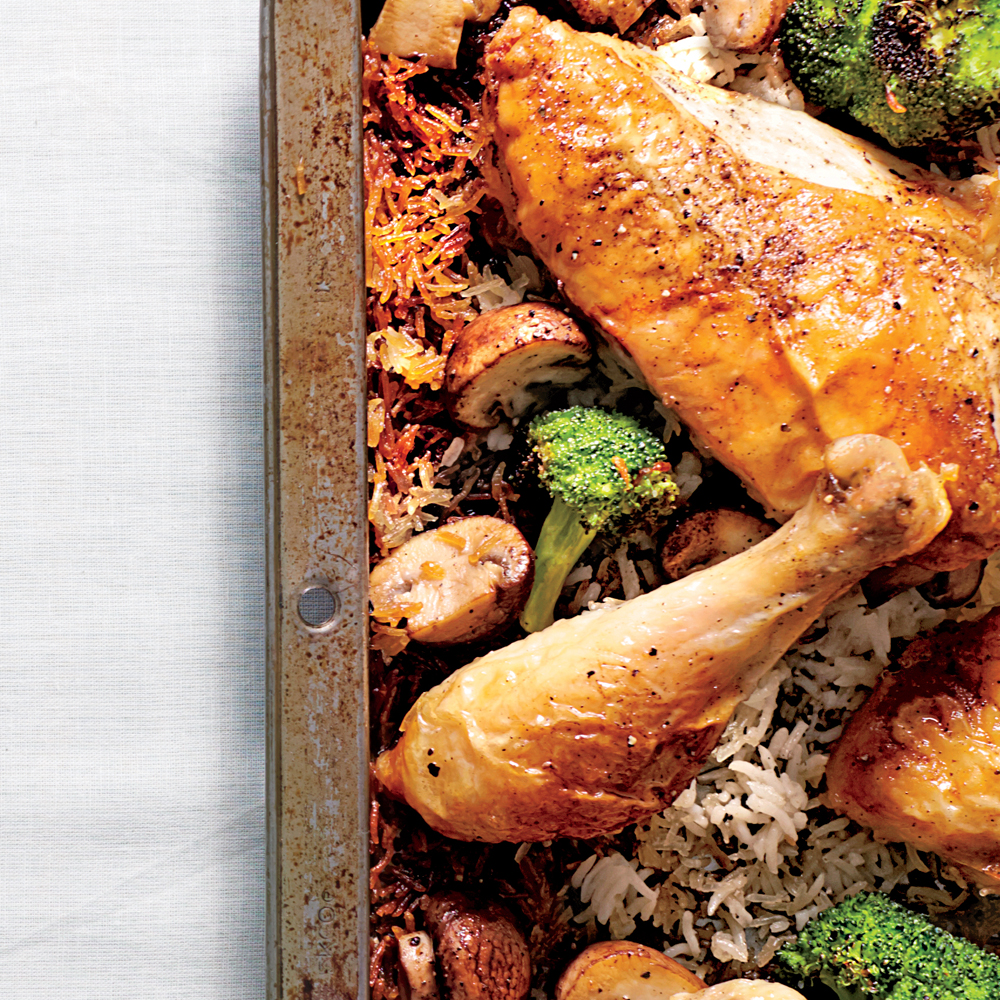 Simple Whole Chicken with Roasted Broccoli-Mushroom Rice