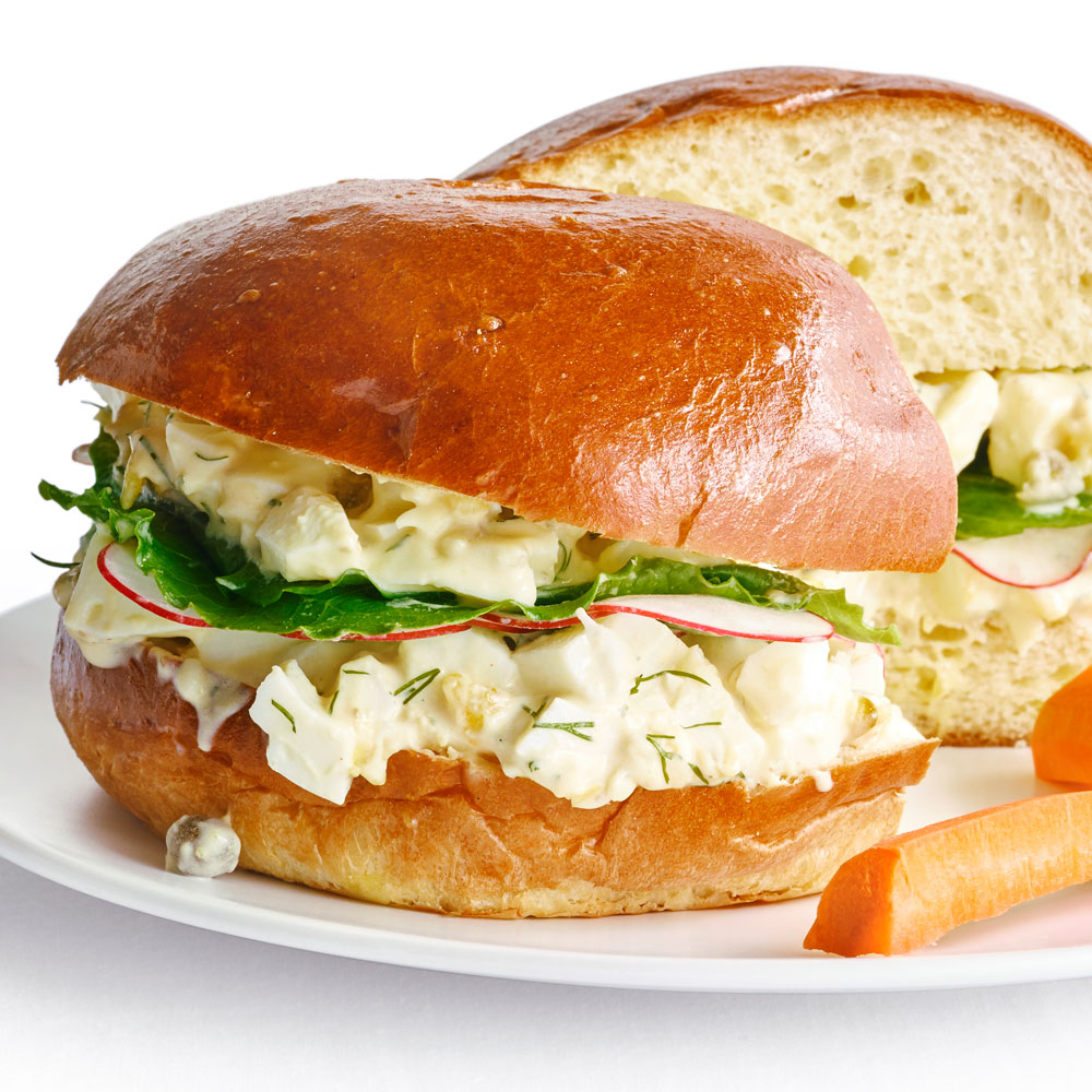 Lemony Egg Salad Sandwiches with Capers and Dill