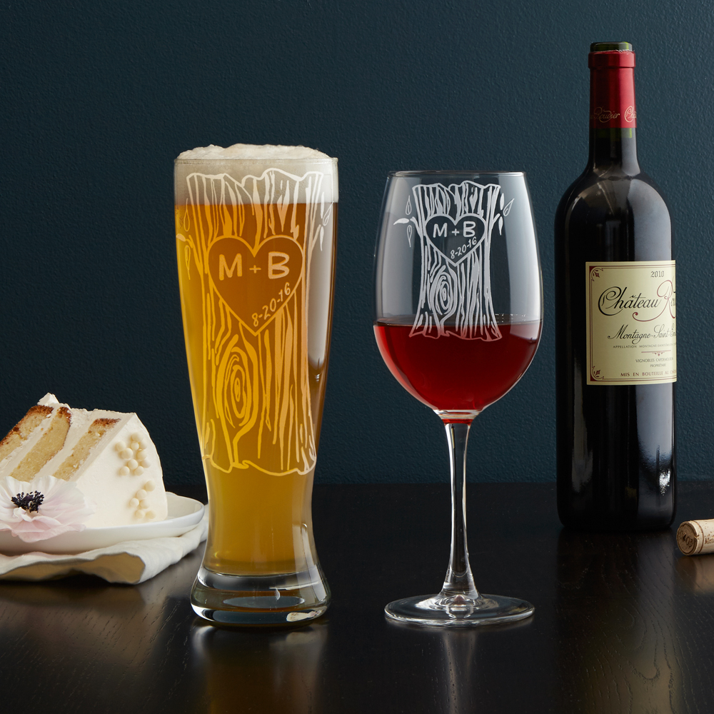 Personalized Tree Trunk Glasses Image
